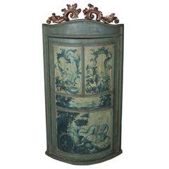 1930s Italian Painted Corner Cabinet