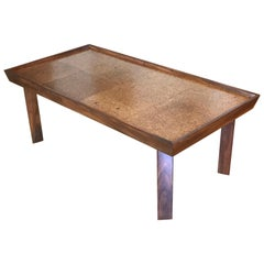 Midcentury Architectural Wood Cocktail Table with Cork Top