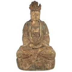 Large Antique Chinese Ming Dynasty Hand-Carved Wood Quan Yin
