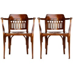 Pair of Otto Wagner Chairs Armchairs by J.&J. Kohn, Austria, Vienna Secession