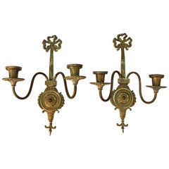 O.C. White Co. Neoclassical Style Gilt Brass Candelabra Sconces