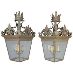 Spanish Hand-Wrought Iron Lanterns with Pitted Glass, Pair