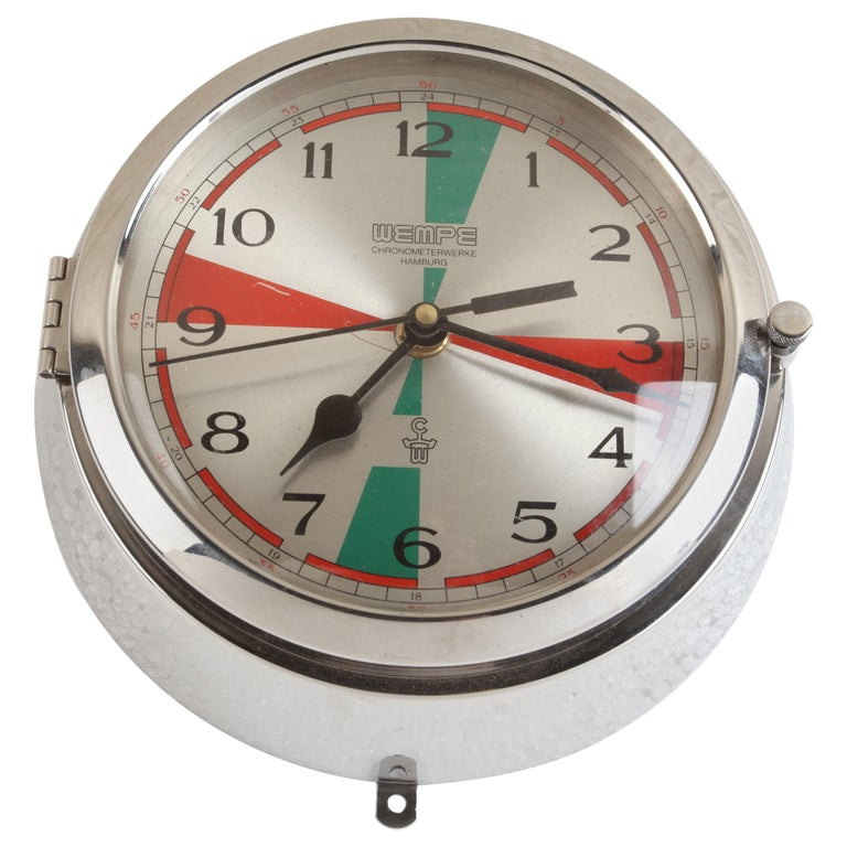 Chrome Wempe Analog Clock from Ship's Radio Room, German, 1970s For Sale