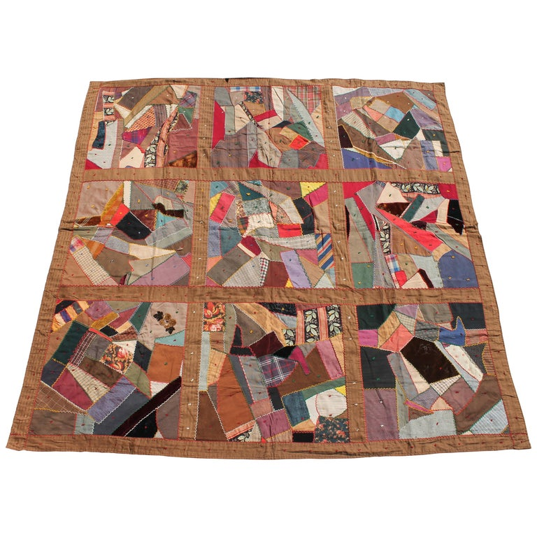 Antique Quilt, Contained 19th Century Crazy Quilt from Pennsylvania For Sale