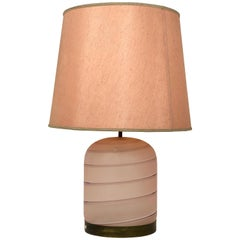 Tommaso Barbi Rose Pink Table Lamp in Murano Glass and Brass, Italy, 1970s