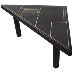 Triangular Slate Top Table Made in Denmark by Sallingboe Jelling