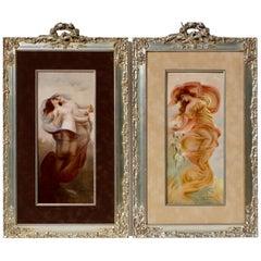 Pair of Limoges Art Nouveau Painted Porcelain Plaques