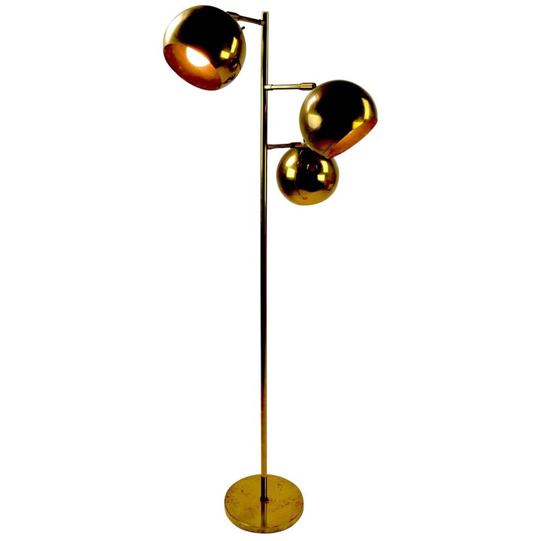 Three-Light Brass Floor Lamp by Koch and Lowy For Sale