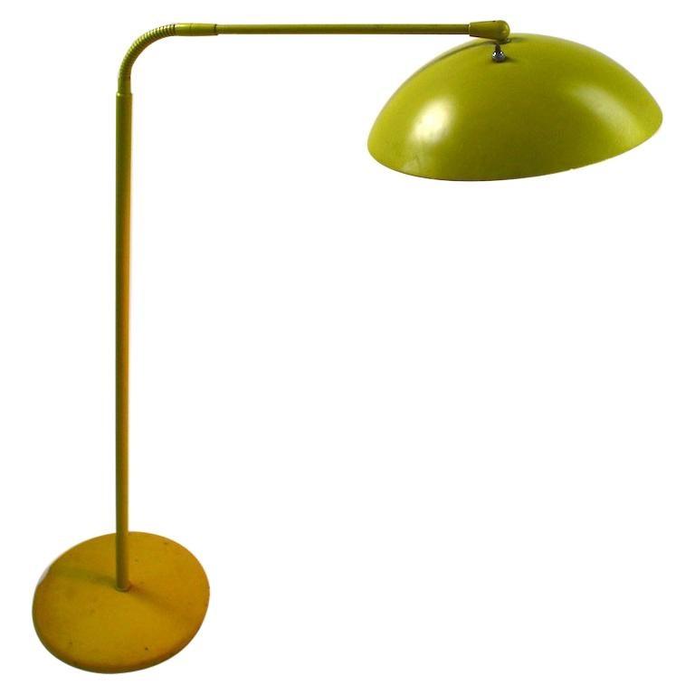 Mid Century Gooseneck Floor Lamp Attributed to Lightolier For Sale