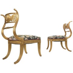French Empire Gold Gilded Winged Shell Klismos Chairs