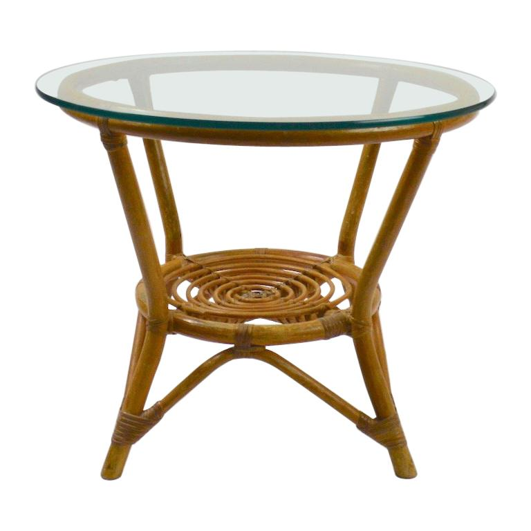 Glass Top Bamboo Table For Sale