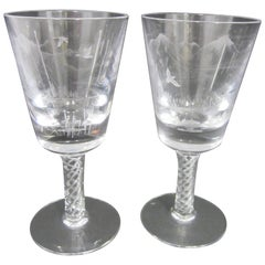 Pair of Raynes and Glasbey 45% Lead Crystal Engraved Goblets