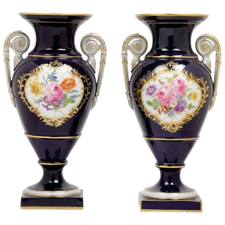 Pair of Porcelain Meissen Cobalt Blue Vases, 1960