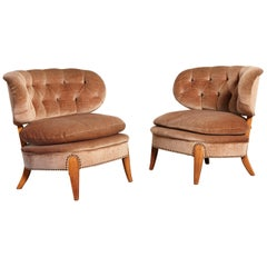 Pair of Otto Schulz 'Schultz' Easy Chairs, Sweden, 1940s-1950s