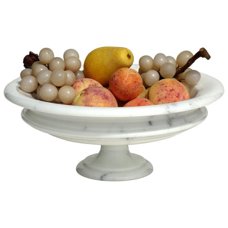 1980s Italian Design Carrara Marble Fruit Centrepiece