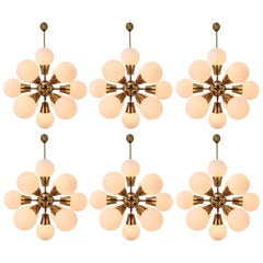 Midcentury Sputnik Chandeliers in Brass and Opaline Glass Spheres, Europe, 1970s