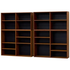 "Midcentury Teak and Black ""Domi 13"" Bookcases by Nils Jonsson for Troeds, Sweden"