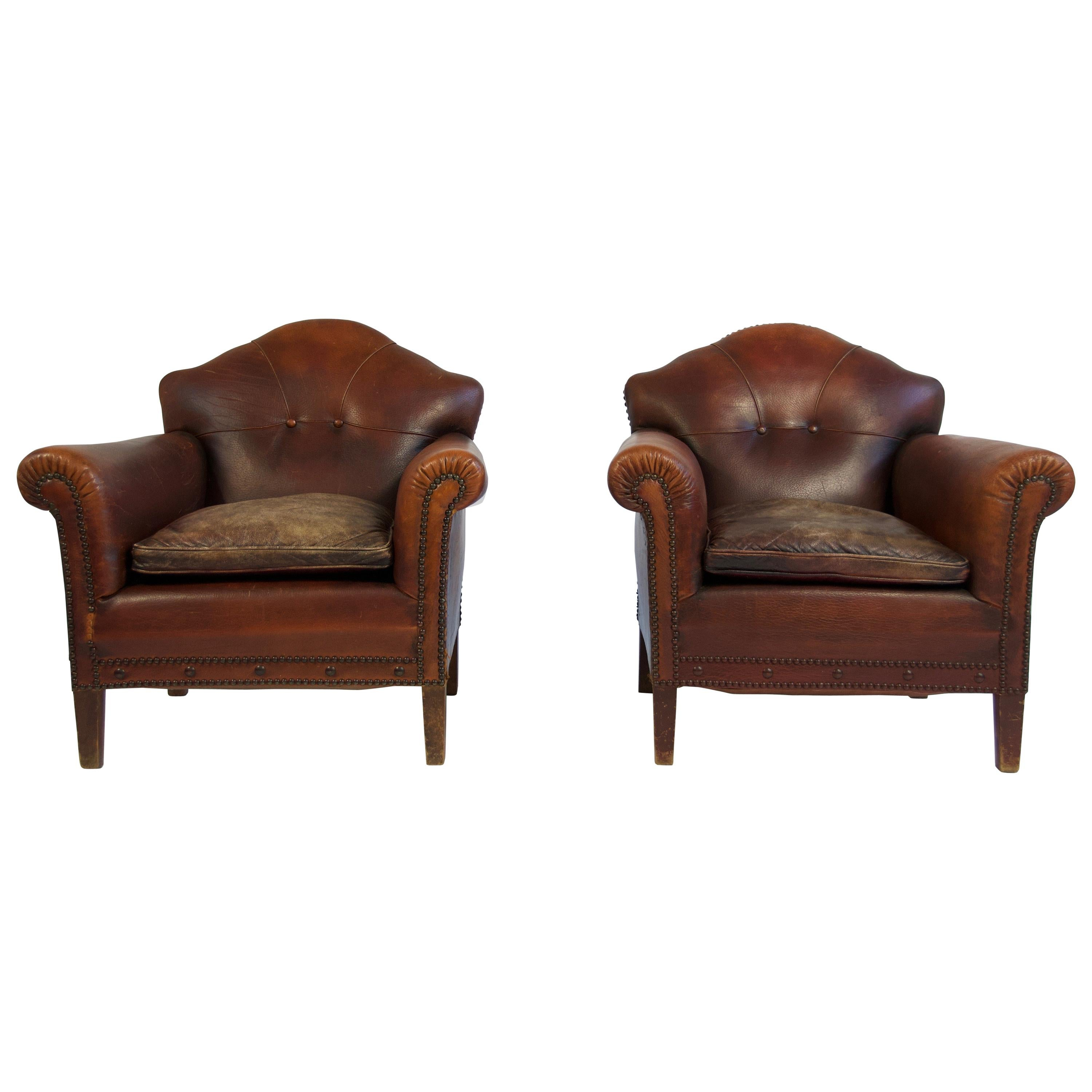 Pair Of 1920s European Leather Lounge Chairs For Sale