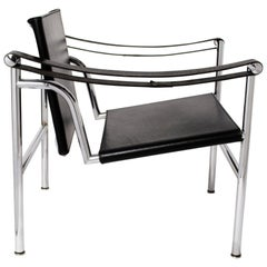 Le Corbusier Postmodern Steel and Black LC1 Numbered Chairs for Cassina, 1980s
