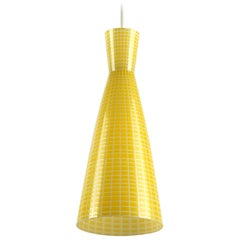 Set of Three Yellow Midcentury Glass Diabolo Pendant Lamp by Aloys Gangkofner