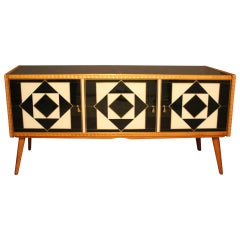 Italian Black and White Sideboard or Credenza in Murano Glass and Brass Inlay