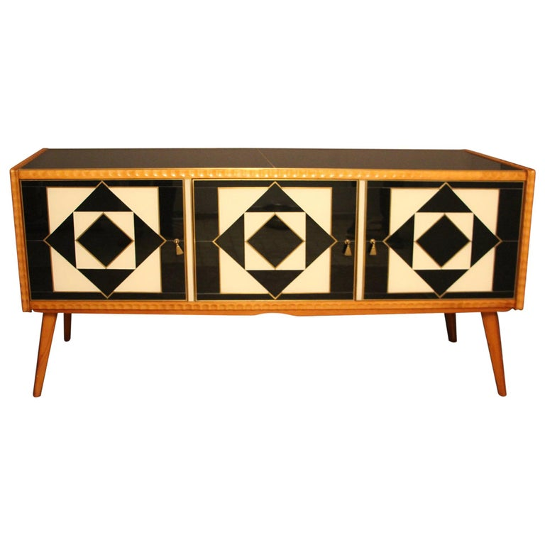Italian Black and White Sideboard or Credenza in Murano Glass and Brass Inlay For Sale