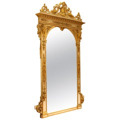Italian White Lacquer and Giltwood Floor Mirror, Florence, circa 1865