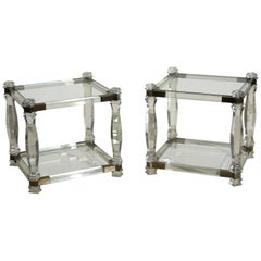 1970s by Charles Hollis Jones Hollywood Regency Lucite Design Pair of Tables