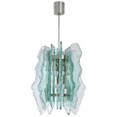 Fontana Arte Attributed to Chiselled and Milled Chandelier, circa 1960