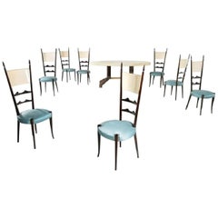 Aldo Tura Parchment Oval Table and Eight Chairs, 1950 -1960