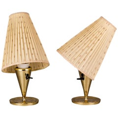 Two Viennese Table Lamps Made of Solid Brass with Original Shades, circa 1950s