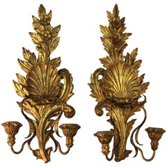 Italian Baroque Style Carved Giltwood Wall Candleholders