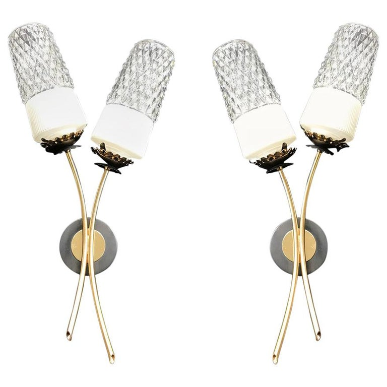 French Mid-Century Modern Pair of Lunel Wall Lamp Sconces, 1950s