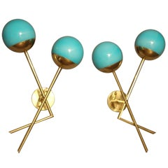 Pair of Italian Sconces in Turquoise Blue Murano Glass and Brass