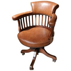 19th Century Antique Oak Office Chair, Captains Chair