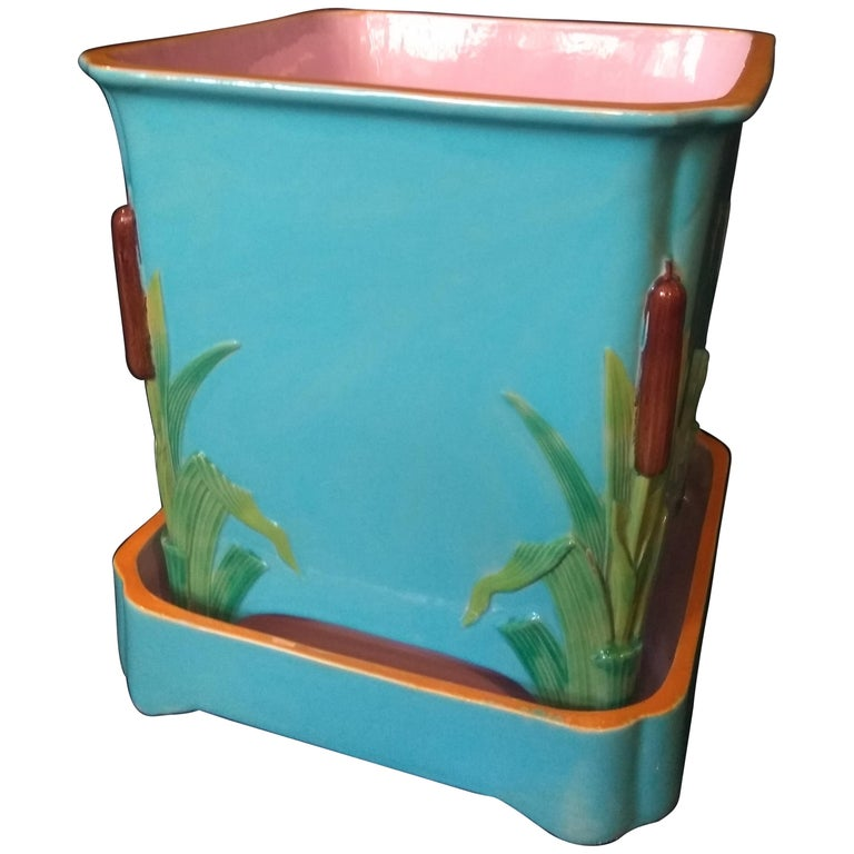 19th Century Minton Bullrush Planter For Sale