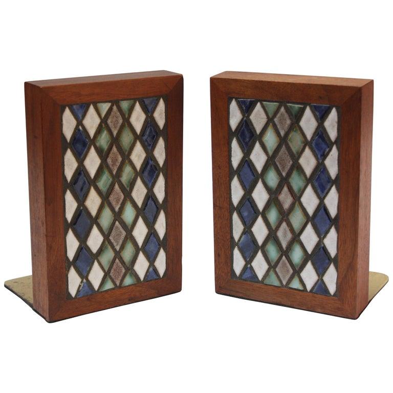 Midcentury Martz Ceramic and Walnut Bookends
