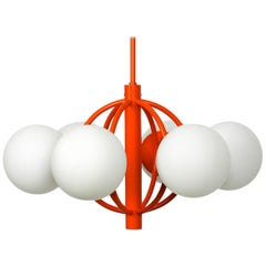 "1960s ""Kaiser"" Metal Ceiling Lamp with 8 Opal Glass Balls Space Age Atomic"