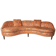 Curved Dunbar Edward Wormley Sofa Orig Asia Fabric
