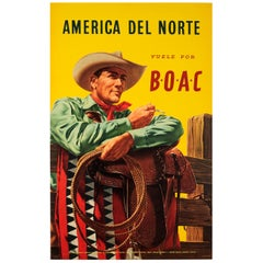 Original Vintage BOAC Travel Poster for North America Del Norte Vuele Por BOAC