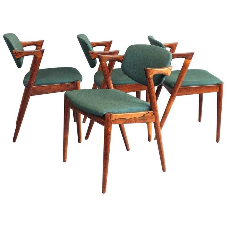 Kai Kristiansen Model 42 Rosewood Set of Four 1960s Z Chairs