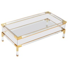 Midcentury Italian Brass Lucite and Glass Coffee Sofa Table, 1970