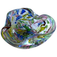 Signed Decorative Folded Art Glass Bowl by AVeM Italy, 1950