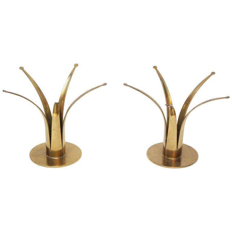 Pair of Swedish Brass Candleholders by Ivar Ålenius Björk for Ystad Metall
