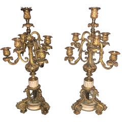 Pair of 19th Century Doré Bronze 7-Light Marble Base Candelabras Mounted as Lamp