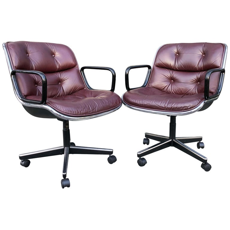 Charles Pollock for Knoll Office Chairs in Burgundy Leather