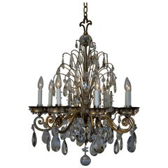 French 1950s Crystal and Gilt Iron Chandelier