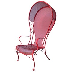 Mid-Century Modern Russell Woodard Canopy Patio Chair in Red