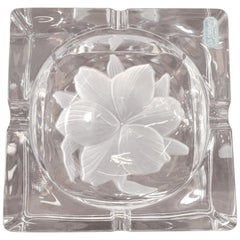 20th Century French Signed Crystal Ashtray, 1980s