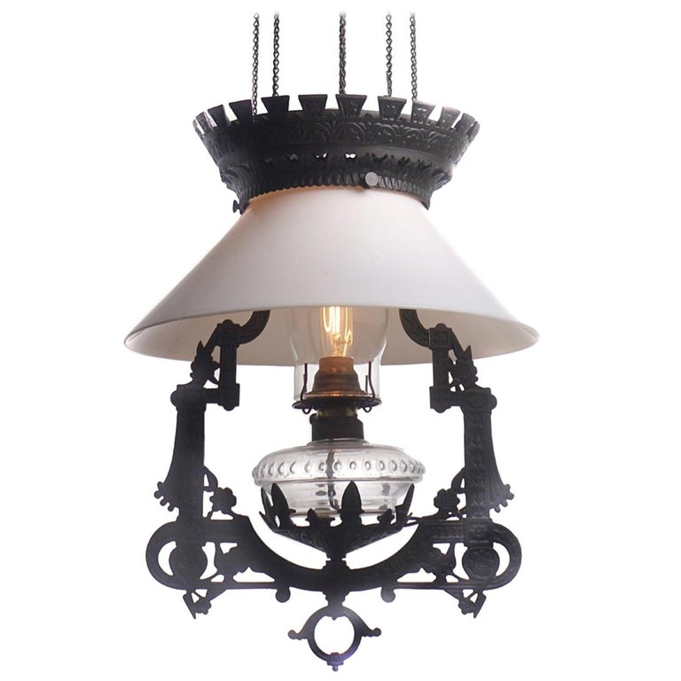 Electrified 1876 Bradley and Hubbard Rise and Fall Lamp For Sale